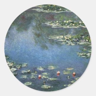 Water Lilies, Monet, Vintage Impressionism Flowers Round Sticker