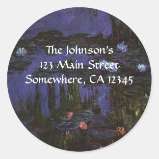 Water Lilies Monet Vintage Impressionism Flowers Round Stickers