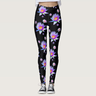 Water Lilies on Black Background Leggings
