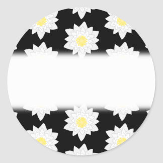 Water Lilies on Black. Floral Pattern. Round Stickers