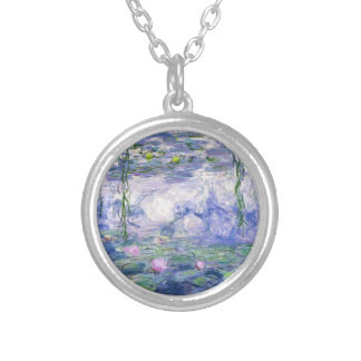 Water Lilies Painting Silver Plated Necklace