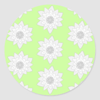 Water Lilies Pattern in Green, White and Gray. Round Stickers