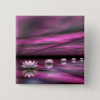 Water lilies steps the horizon - 3D render 15 Cm Square Badge
