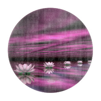 Water lilies steps the horizon - 3D render Cutting Board