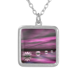 Water lilies steps the horizon - 3D render Silver Plated Necklace