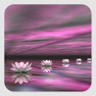 Water lilies steps the horizon - 3D render Square Sticker