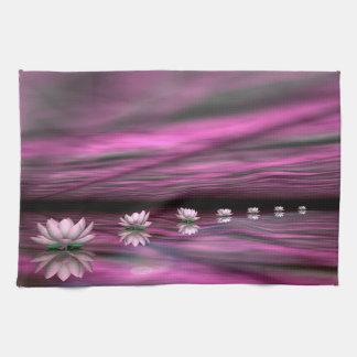 Water lilies steps the horizon - 3D render Tea Towel