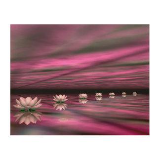 Water lilies steps the horizon - 3D render Wood Wall Art