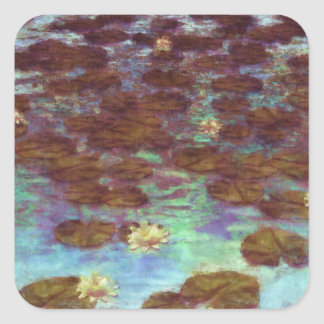 Water Lilies Square Stickers