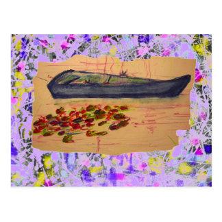 water lilies torn sketch drip postcard