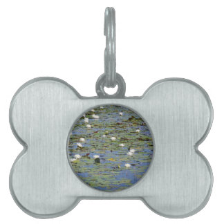 Water lillies pet ID tag