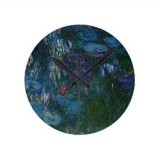 Water Lillies Round Clock