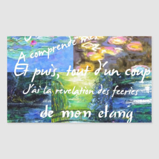 Water lily and Monet fascination. Rectangular Sticker