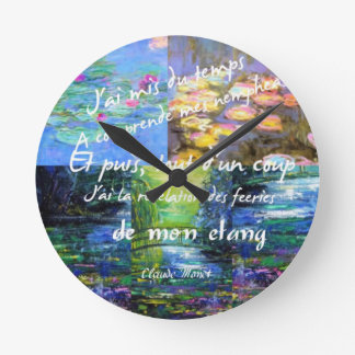 Water lily and Monet fascination. Round Clock
