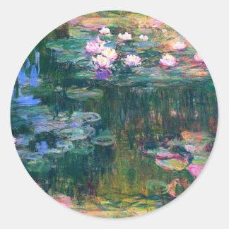 Water Lily Blooms in the Pond Monet Fine Art Round Sticker