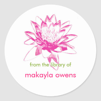 Water Lily Bookplates Round Sticker