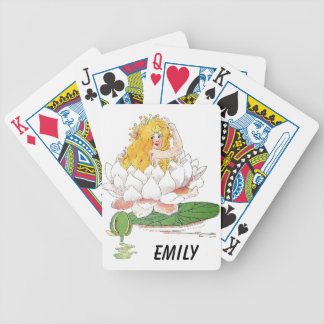 Water Lily Cute Flower Child Floral Fairy Girl Bicycle Playing Cards