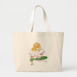 Water Lily Cute Flower Child Floral Fairy Girl Large Tote Bag