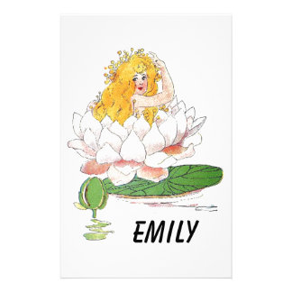 Water Lily Cute Flower Child Floral Fairy Girl Stationery