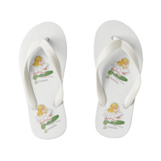 Water Lily Cute Flower Child Floral Vintage Girl Kid's Thongs