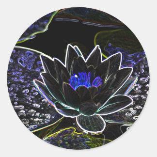 water lily digital art round sticker