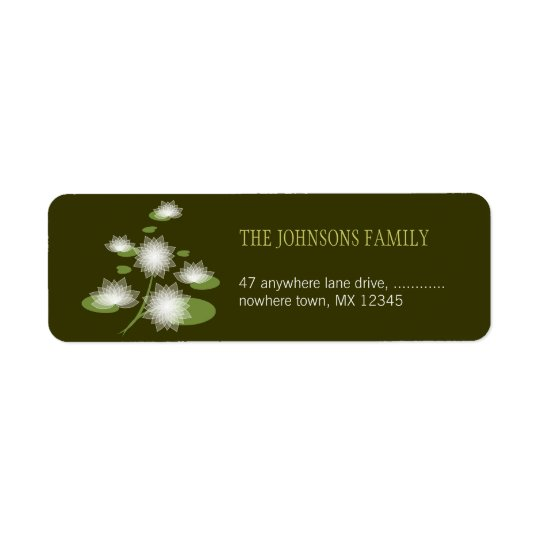 Water Lily Elegant Simple Contemporary Wedding Return Address Label
