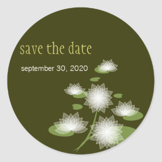 Water Lily Elegant Simple Save The Date Wedding Round Sticker