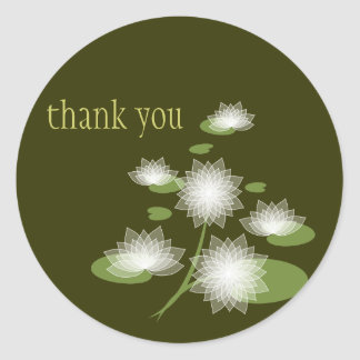 Water Lily Elegant Simple Thank You Favor Sticker