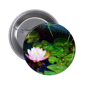 Water lily floating in a pond 6 cm round badge