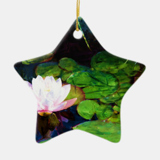 Water lily floating in a pond ceramic ornament