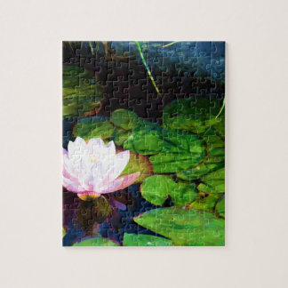 Water lily floating in a pond jigsaw puzzle