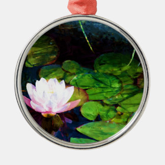 Water lily floating in a pond metal ornament
