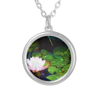 Water lily floating in a pond silver plated necklace