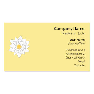 Water Lily Flower. White and Yellow. Style 2. Pack Of Standard Business Cards