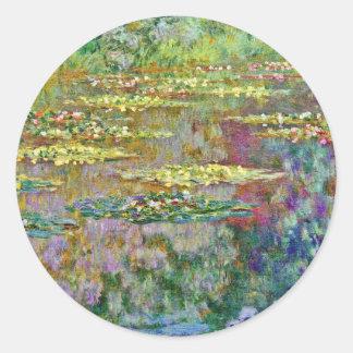 Water Lily Flowers Claude Monet Fine Art Round Sticker