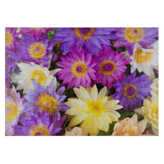Water lily flowers cutting board