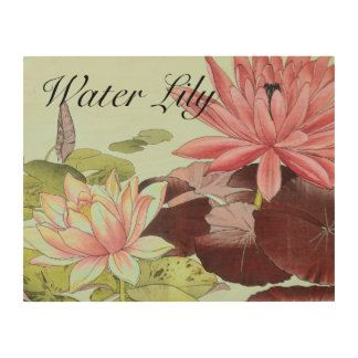 Water Lily Flowers Japanese Art Wood Canvas