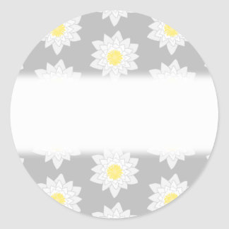 Water Lily Flowers. White, Yellow and Gray. Stickers
