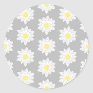 Water Lily Flowers. White, Yellow and Gray. Round Stickers
