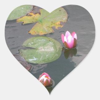 Water Lily Heart Sticker