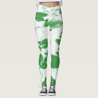 Water lily leaves white leggings