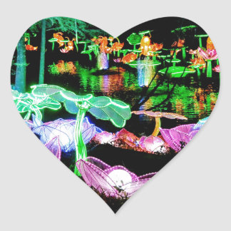 Water LIly Light Up Night Photography Heart Sticker