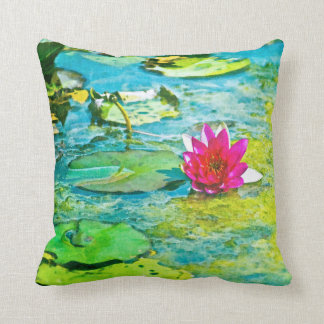 Water Lily Lilypad Throw Pillow