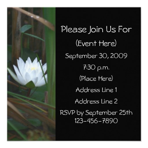 Water Lily Lotus Blossom Square Floral Invitation