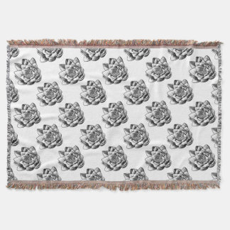 Water Lily Lotus Flower Vintage Woodcut Engraved E Throw Blanket