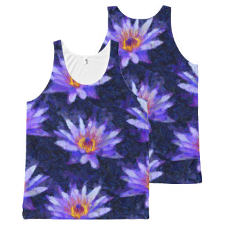 Water Lily Modern All-Over Print Singlet