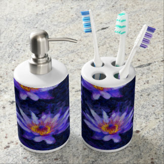 Water Lily Modern Soap Dispenser And Toothbrush Holder