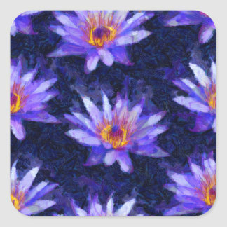 Water Lily Modern Square Sticker