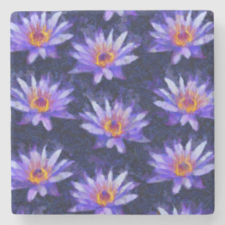 Water Lily Modern Stone Coaster