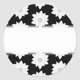 Water Lily Pattern. Black and White. Sticker